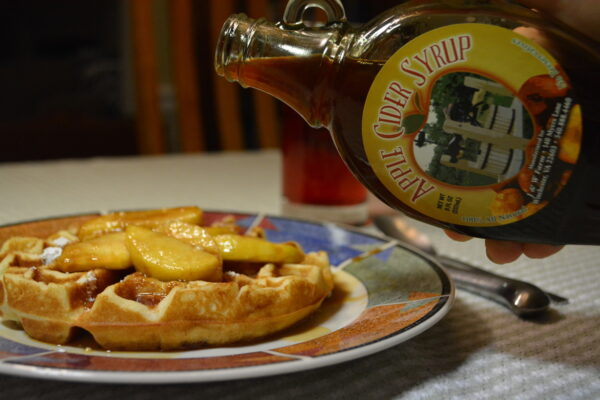 Apple cider syrup on waffles