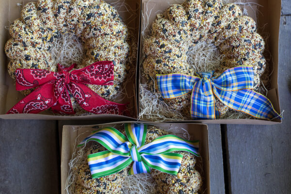 Bird seed wreaths in boxes